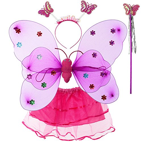 Shining Costume Girls (Evelin LEE 4pcs/lot Toddler Girls Fairy Shining Butterfly Cosplay Costume Wing Wand Tutu Skirt Halloween Party Costume)
