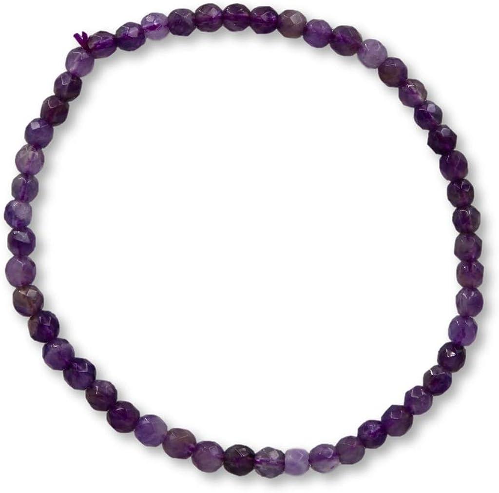 Taddart Minerals – Pulsera de piedras preciosas naturales amatista con bolas facetadas de 4 mm en hilo elástico de nailon – hecha a mano.