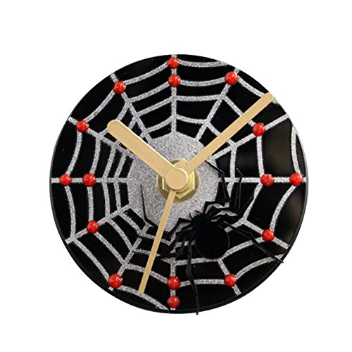 MCC Round wall clock Refrigerator magnetic message bell - Three-dimensional black spider silver mesh style plastic strong magnet material - 8.4cm , black
