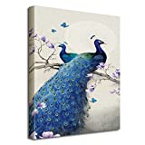 Avena Blue Peacocks Canvas Paintings Wall Art Printing Modern Wall Home Decor Decoration Gallery Giclee Printing with Hanging String 20x27.5in / 50x70cm