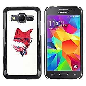 EJOY---Cubierta de la caja de protección la piel dura para el ** Samsung Galaxy Core Prime ** --Red EE.UU. Hipster Fox