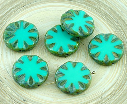 4pcs Picasso Turquoise Green Rustic Window Table Cut Flat Flower Sun Coin Round Czech Glass Beads (Turquoise Coin Beads)