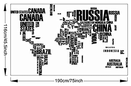 Amazon junoenterprize large removable black decal vinyl letters junoenterprize large removable black decal vinyl letters geography world map wall sticker home art mural decor gumiabroncs Choice Image