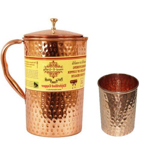 Copper water jug  amp; glass