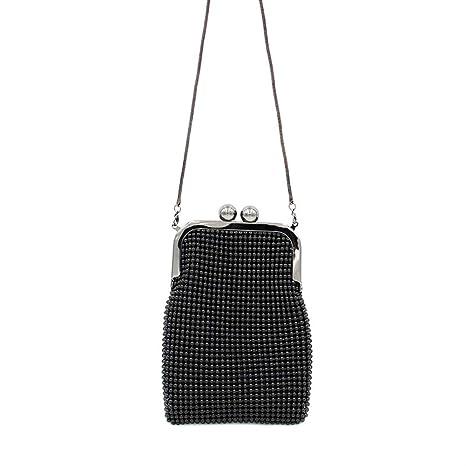 Hand&Star Damas de Aluminio Negro Perlas Bolsa de teléfono ...