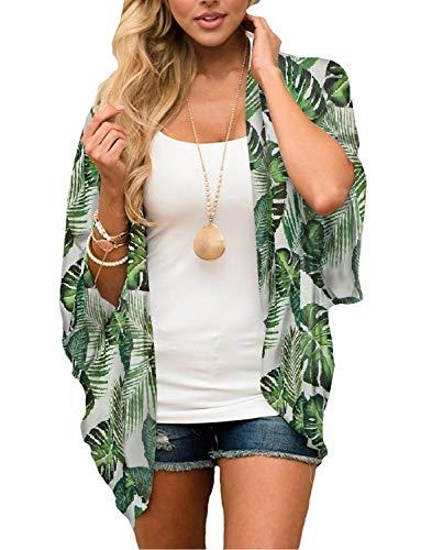Women's Kimono Cardigan Leaf Print Chiffon Beach Open Cover ups Casual Loose Tops Shawls (Green,M) (Chiffon Green Suit)
