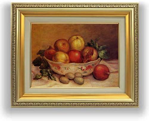 ルノワール ザクロのある静物 F4 油絵直筆仕上げ| 絵画 4号 複製画 ゴールド額縁 477×387mm