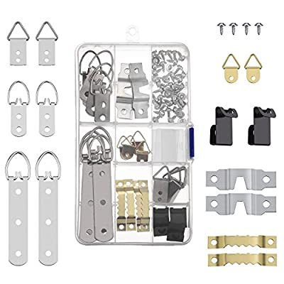 Shappy 68 Pieces Photo Frame Hanging Hooks Kit Picture Frame Hooks Frame Picture Hanger Kit for Home Office Photo Picture Painting Hanging, Assorted