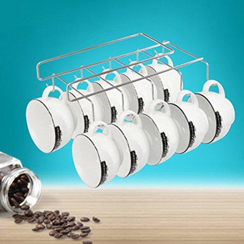 Mug/Cup Holder,8 Hook Under Shelf Mugs Cups Wine Glasses Sto