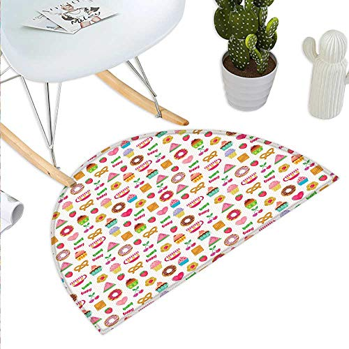 Sweet Tea Border Collection - Tea Party Half Round Door mats Sweets Candies Cookies Fruit and Other Cute Things Festive Cheerful Collection Bathroom Mat H 39.3