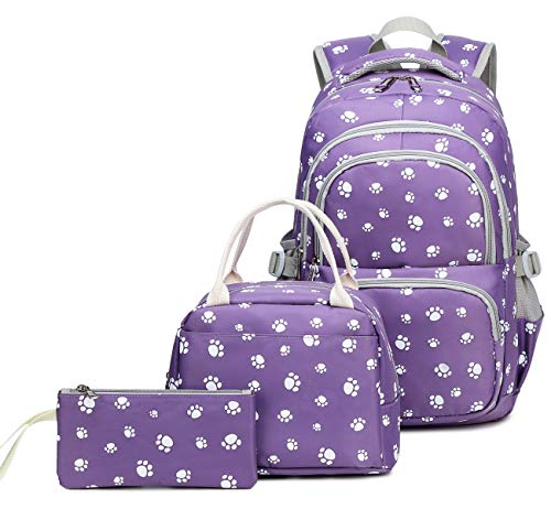 Kids Girls Backpack Elementary School Paw Prints Bookbag 3pcs Set with Lunch Bag (Purple)