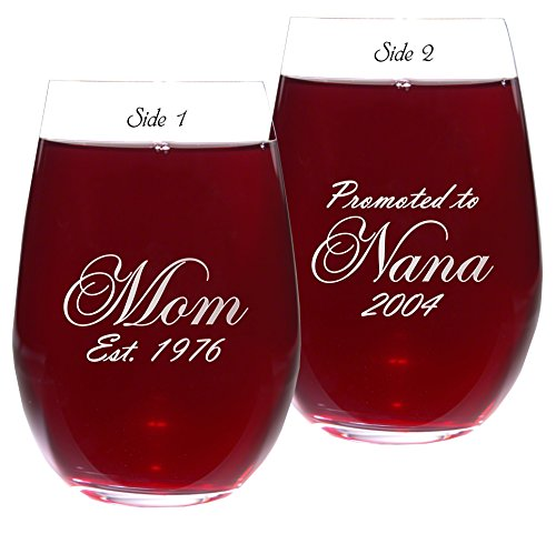 Mom Est. Wine Glass with Promoted to Nana or Grandma on Back of Glass | Choice of 16oz or 21oz | Choice of 21 Fonts - 16 Oz Stemless Wine Glass