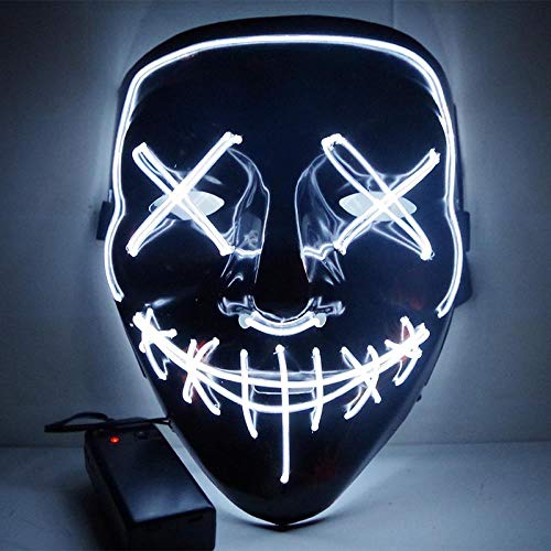 LED Mask Halloween Party Mask Masquerade Mask Neon Maske Light Glow in Dark Mascara Horror Maska Glowing Mask Clear, WHITE