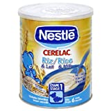 Cerelac Nestle, Rice with Milk, 14.11-Ounce Can (400 Grams), (Pack of 4)