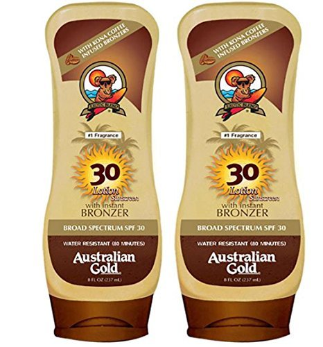 Australian Gold Spf 30 Broad Spectrum Moisture Max Sunscreen Lotion with Kona Bronzers, 8 Ounce (Pack of 2) (2 Pack, Spf ()
