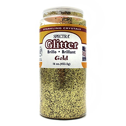 Pacon Spectra Glitter Sparkling Crystals, Gold, 16-Ounce Jar (91780)