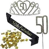 KaKaxi Princess Birthday Hair Accessories Set - Crystal Tiara Birthday Crown,Birthday Sash,Birthday Cake Topper & Confetti