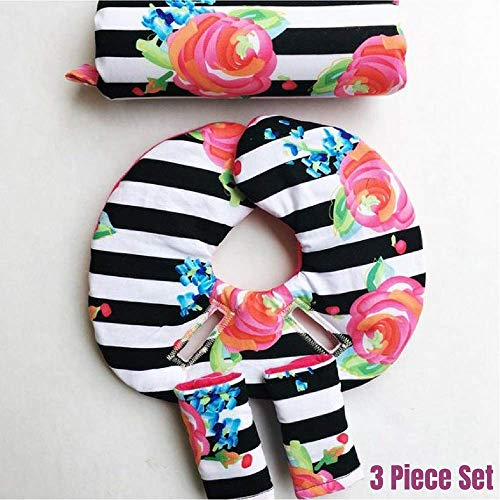 Car Seat Head Support, 2 Size with Newborn Insert, Floral, Black and White Stripes,Hot Pink, Infant Head Support, Strap Covers, Car Seat Arm Pad, Stroller Liner, Pram Liner, Buggy Liner