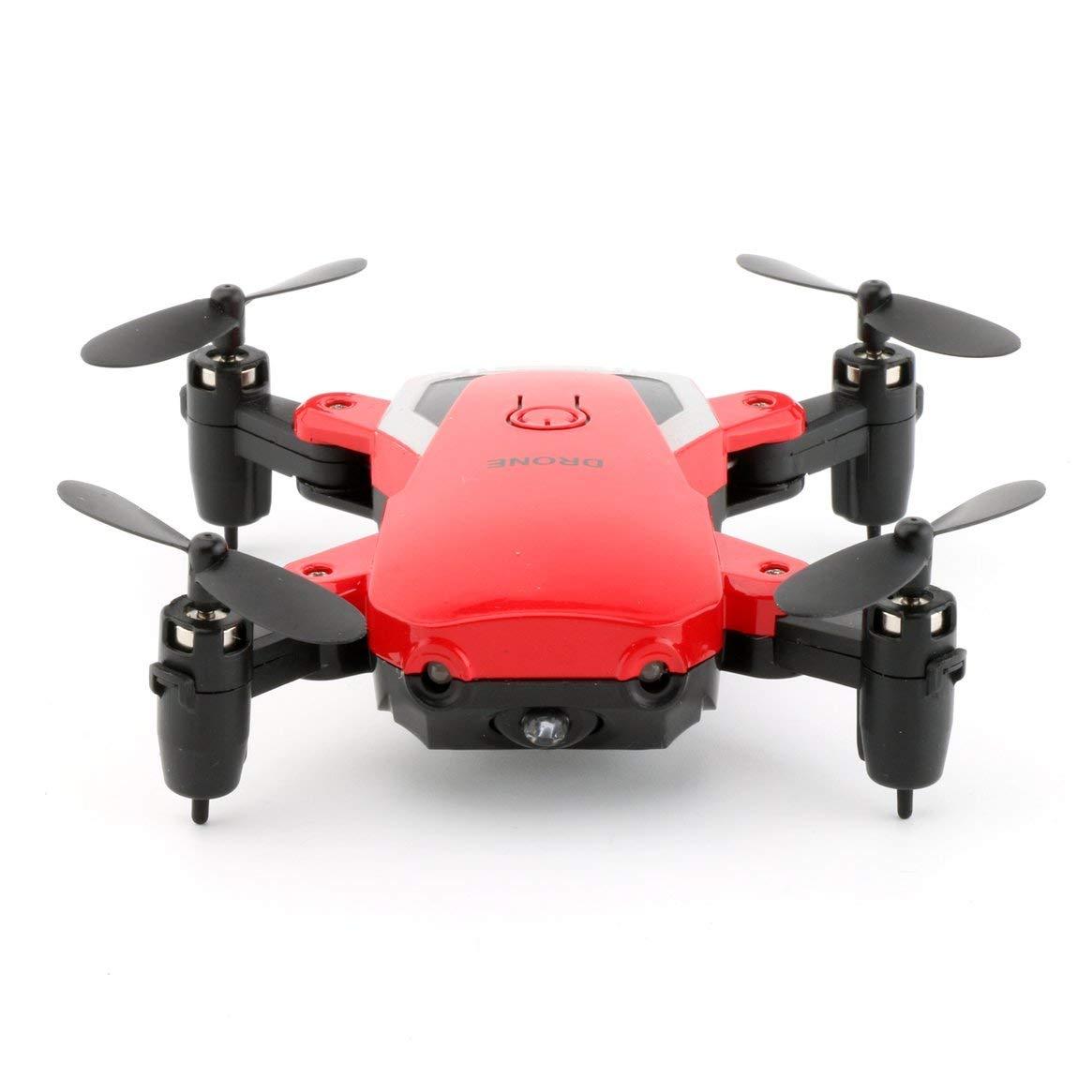 Delicacydex Mini RC Hubschrauber Höhe halten Faltbare Drohne A808 RC Quadcopter mit 2,0 Megapixel Kamera tragbare Fliegende Flugzeuge - rot