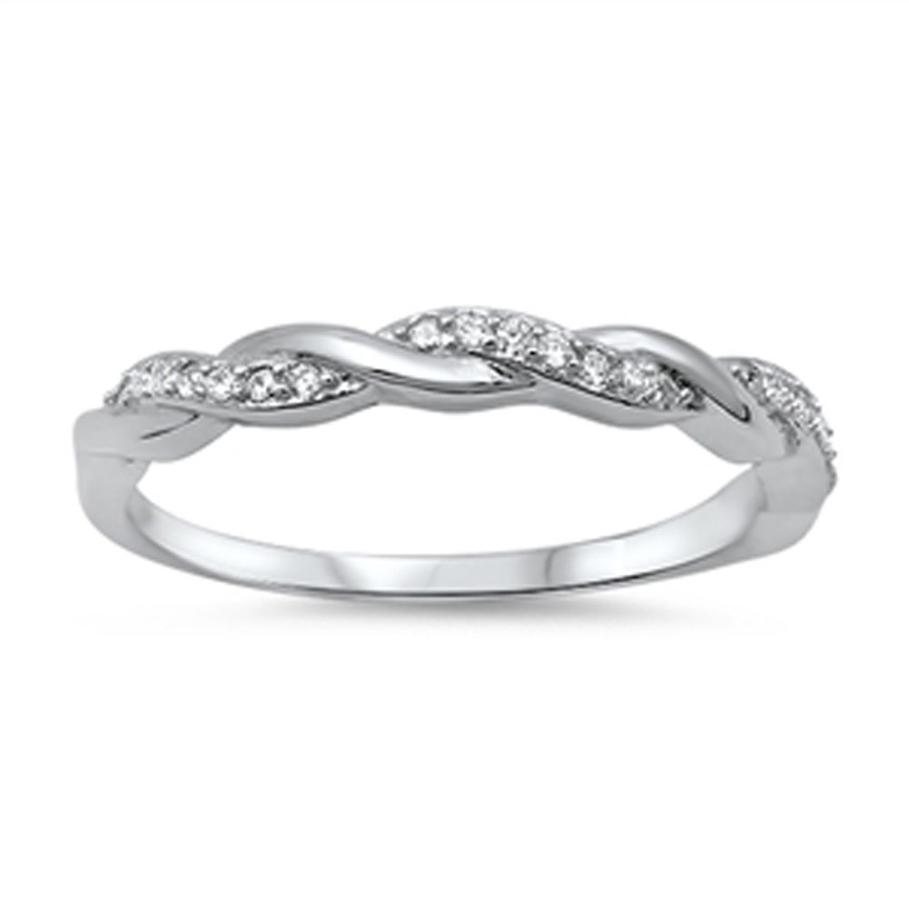 Infinity Braid Clear CZ Promise Ring New .925 Sterling Silver Band Size 7 by Sac Silver
