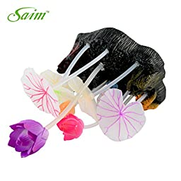 Saim Glowing Effect Artificial Lotus Leaves and Flowers for Fish Tank Decoration Aquarium Ornament