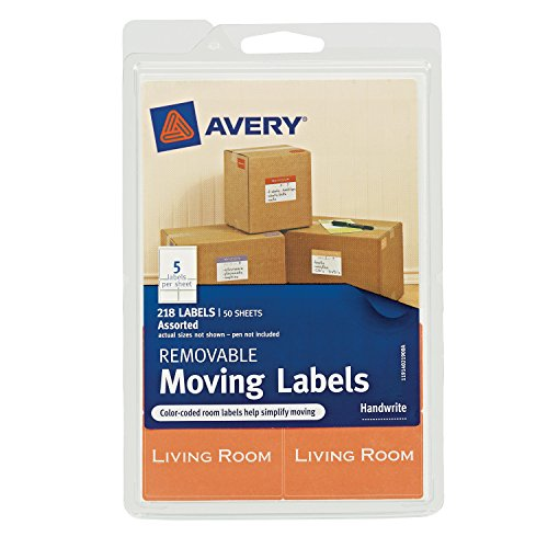 (Avery Removable Moving Labels, Assorted Sizes and Colors, Pack of 218 (40219) )