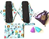 Luna Cup Menstrual Starter Kit 6 pcs Set - 2 Reusable Bamboo Charcoal Cloth Period Pads 2 Menstrual Cups 1 Silky Pouch 1 Small Wet Bag