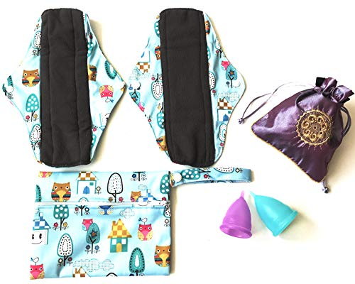 Luna Cup Menstrual Starter Kit 6 pcs Set - 2 Reusable Bamboo Charcoal Cloth Period Pads 2 Menstrual Cups 1 Silky Pouch 1 Small Wet Bag ()