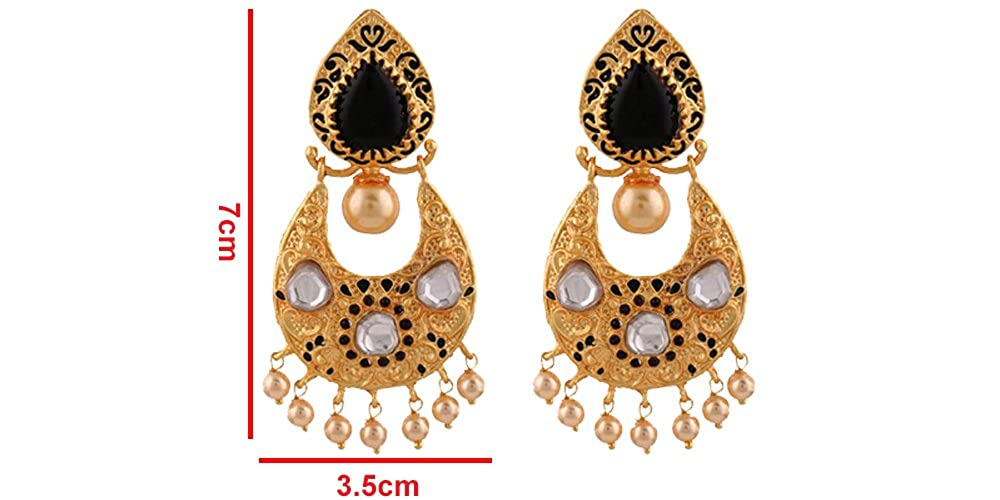 Terramart/_ Antique Earring Set/_Fashion Jewellery for Women Black, White /& Gold with Pearl Girls