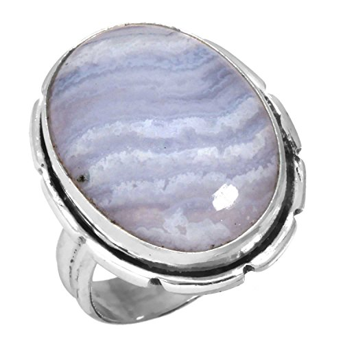 Solid 925 Sterling Silver Best Seller Jewelry Genuine Blue Lace Agate Gemstone Ring Size 5