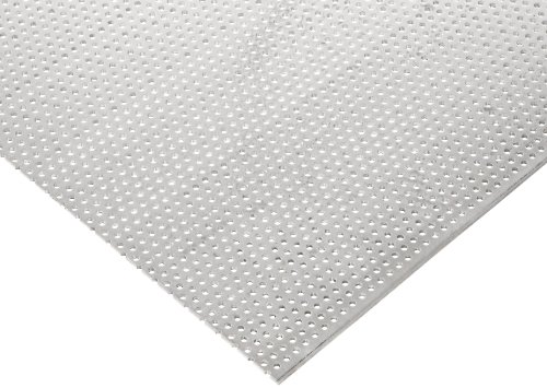3003 Aluminum Perforated Sheet, Unpolished (Mill) Finish, Staggered Round Holes, 0.032'' Thickness, 20 Gauge, 36'' Width, 40'' Length, 0.1093'' Center to Center by Small Parts