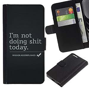 Billetera de Cuero Caso del tirón Titular de la tarjeta Carcasa Funda del zurriago para Apple Iphone 6 PLUS 5.5 / Business Style Mission Accomplished