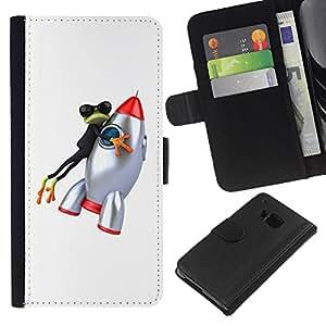 All Phone Most Case / Oferta Especial Cáscara Funda de cuero Monedero Cubierta de proteccion Caso / Wallet Case for HTC One M7 // Frog Business Space Cartoon