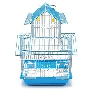 BPS Jaula Pájaros Metal con Comedero Bebedero Columpio Saltador Cubeta 2 Tamaños M/L Color envia al Azar (M: 30 x 23 x…