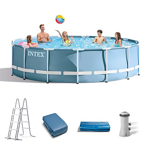 Intex 15 Feet x 48 Inches Prism Frame Pool Set with Ladder, Cover, & Pump by Intex