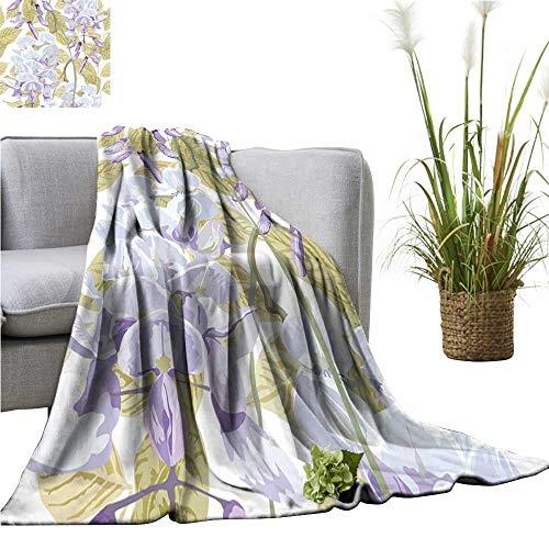 YOYI Digital Printing Blanket realisti Wisteria Flowers Leaves Better Deeper Sleep 50