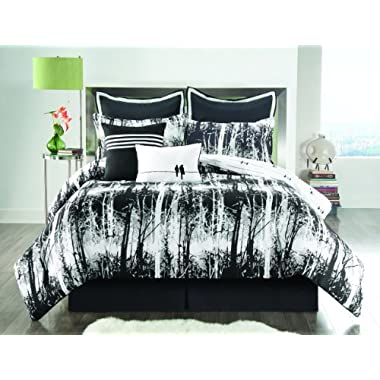 Sunset and Vine Woodland 8-Piece Queen Comforter Set, Black/White