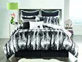 Full Size BED-IN-A-BAG Reversible in Black / White Luxurious 8 Pc Set w/ Decorative Pillows