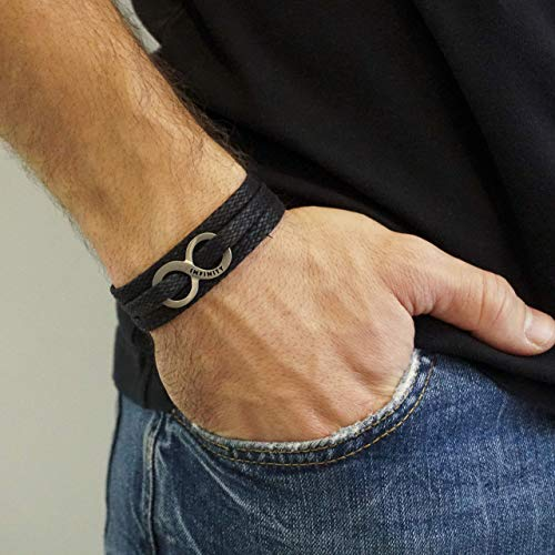 Handmade Wrap Black Fabric Bracelet For Men Set With Silver plated Infinity Pendant By Galis Jewelry - Infinity Bracelet For Men - Jewelry For Men - Friendship Bracelet
