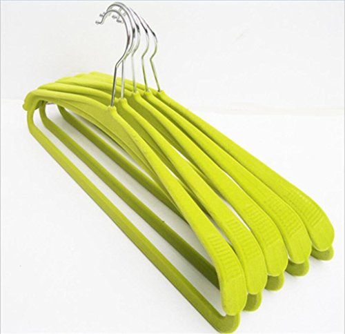 Velvet Hanger Upscale Wide shoulder Non-slip Durable No trace Adult Clothes Hangers 42CM , green , 40 by GFYWZ