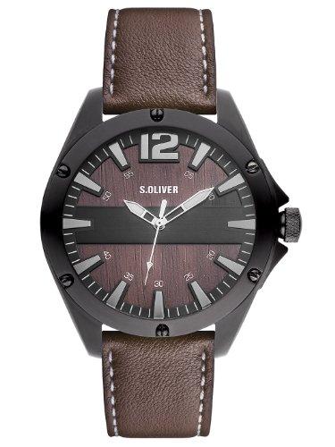 s.Oliver Herren-Armbanduhr XL Analog Quarz Leder SO-2828-LQ