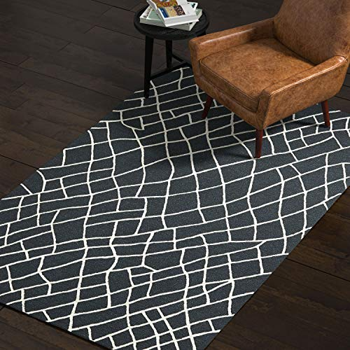 Rivet Wool Rug, 5 x 8 , Black, White