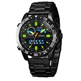 INFANTRY Mens Black Tactical Military Army Analog Digital Sport Wrist Watch with Stainless Steel Band