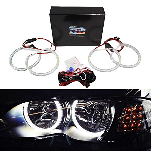 Dual Angel Eye Halo Projector (iJDMTOY 7000K Xenon White 284-SMD LED Angel Eyes Halo Ring Lighting Kit for BMW E46 3 Series Non-HID Headlights version)