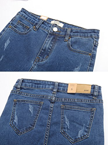 Extensibles Pantalon Mode Grande De Slim Bleu Jeans Femme La Lihaer Haute Denim Irrguliers Femmes Jean Taille Taille RzEnq1