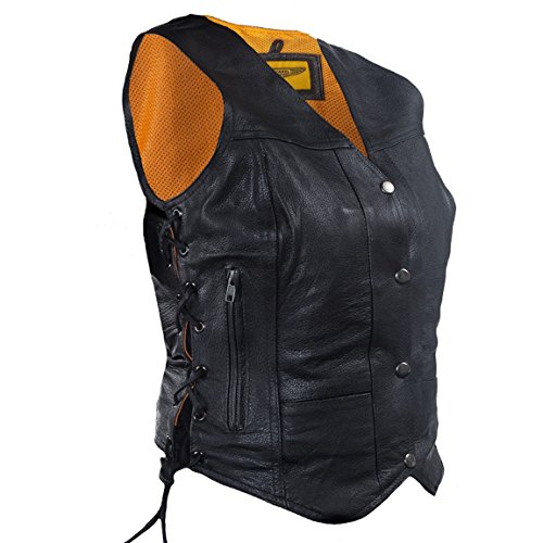 Womens 7 Pocket Naked Leather Motorcycle Vest With Gun Pockets (2XL, Black)
