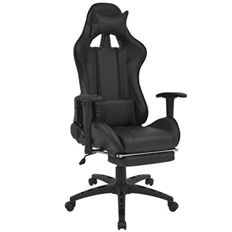 Festnight- Silla de Escritorio Silla Gaming de Oficina Reclinable Racing con Reposapiés Negro