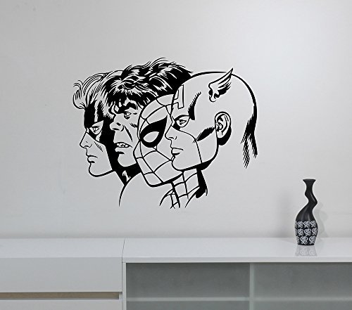 Superheroes Wall Decal Removable Vinyl Sticker Captain America Hulk Spiderman Gambit Art Decorations for Home Kids Room Comics Decor cpa9