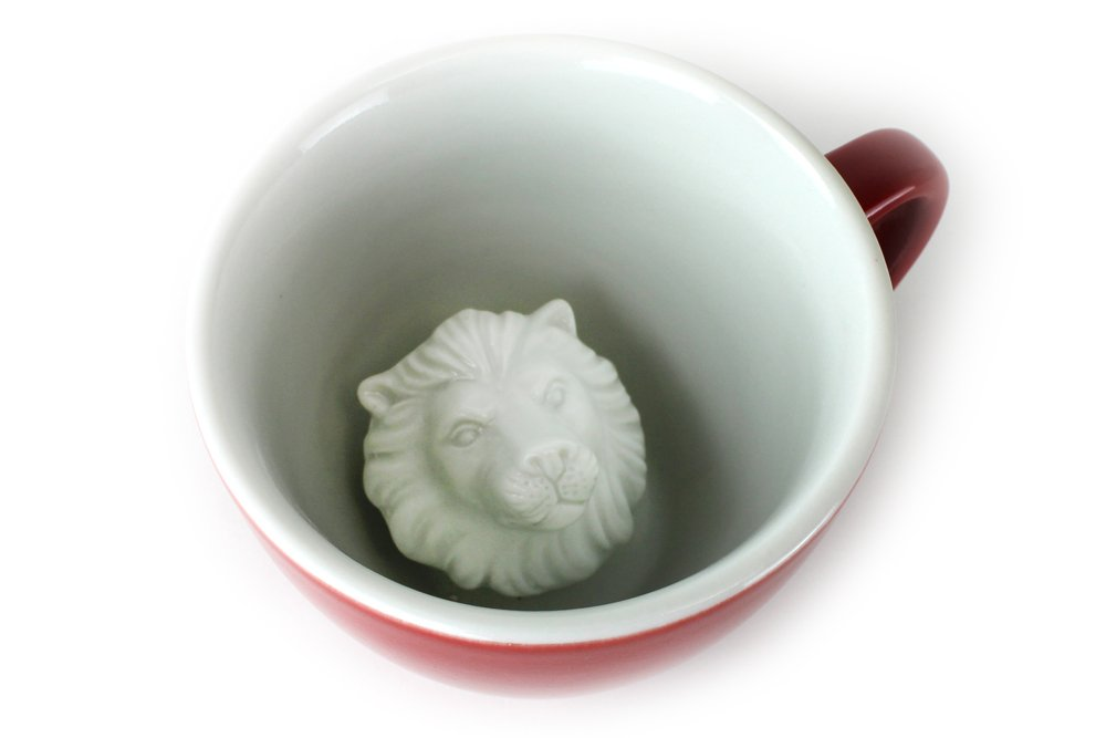 CREATURE CUPS Lion Ceramic Cup (11 Ounce, Red) | Hidden Animal Inside | Holiday and Birthday Gift for Coffee & Tea Lovers by Creature Cups (Image #2)