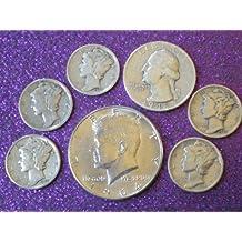 90% Silver Coin Lot 1964 Kennedy Half Dollar, Washington Quarter & 5 Mercury Dimes. All with Good Details by US Mint